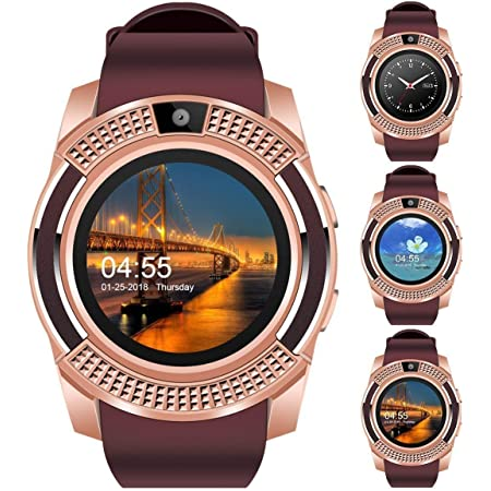 NEFI Bluetooth Smartwatch with Camera/Sim/SD Card/Sleep Monitoring/Video-Voice Recording and More Functions for All Android and iOS Devices. (Assorted Colour) (Purple)