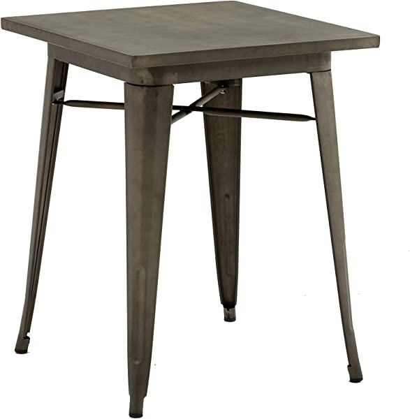 BTExpert Industrial Antique Distressed Sqaure Rustic Metal Dining Table Indoor Outdoor