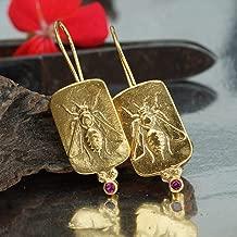925 Sterling Silver Bee Coin Red Topaz Earrings 24k Gold Vermeil Handcrafted Turkish Fine Jewelry Women Earrings Roman Art Design