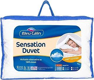 Bleu Câlin Couette 2 Personnes, Sensation Duvet, Très Chaude, Blanc, 240x260 cm, KSD50