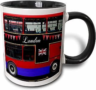 3dRose 3dRose London Double Decker Red Bus with bunting and flag - UK Great Britain United Kingdom Travel souvenir - Two Tone Black Mug, 11oz (mug_113051_4), Black/White