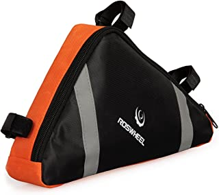 Roswheel Cycling Bag Saddle, Outdoor Bicycle Bike Bag Top Tube Triangle Bag Bike Bag Under Seat Packs Tail Pouch (Orange)