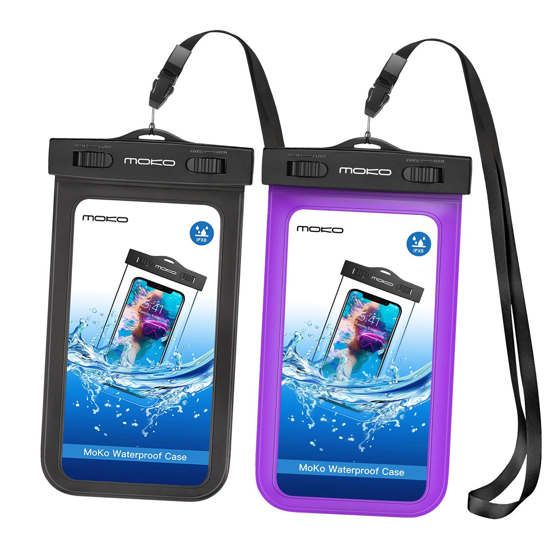 MOKO [2パック]アーム付きユニバーサル防水電話ケース機器やアクセサリーのためのベルト&ショルダーストラップ最大15.2 cmブラック&パープル2パック