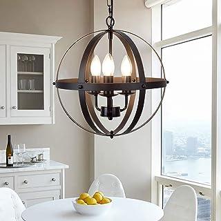Ganeed Pendant Light,Industrial Globe Pendant Lighting,Vintage Chandelier Spherical Hanging Light,Ceiling Light Fixture fo...