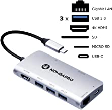 USB C Hub, NOMBARGO 8-in-1 Adapter, USB c dongle with HDMI 4K and 1 Gb ethernet, USB c Dock, USB 3.0 hub Connect Your Devices, for MacBook, PC or Laptops, Prof + Students,Grey.