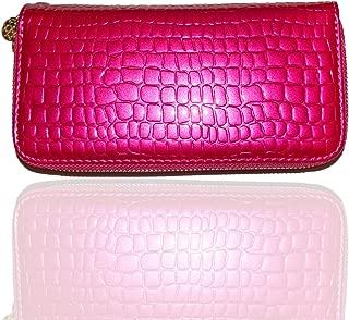 Drip Women's Wristlet Wallet Clutch Purse Dual Zippers PU Alligator High Gloss Finish