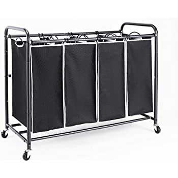 Laundry Hamper Sorter with Heavy Duty Rolling Wheels for Clothes Storage WeHome 4 Bag Laundry Sorter Cart Grey
