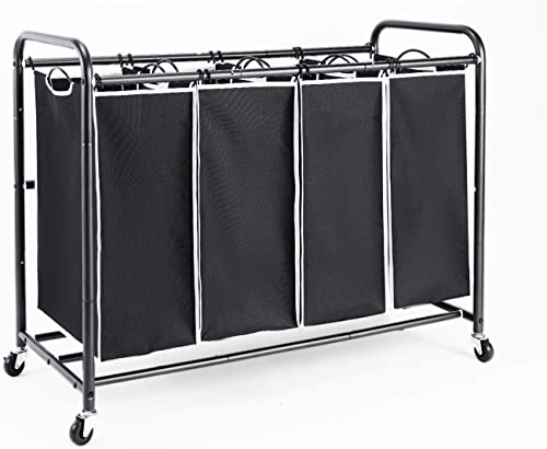 ROMOON 4 Bag Laundry Sorter Cart, Laundry Hamper Sorter with Heavy Duty Rolling Wheels for Clothes Storage, Black