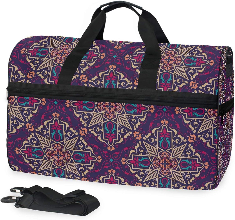 8b213aba9a89 FANTAZIO Arabian Style Print Sports Duffle Bag Gym Travel Duffel ...