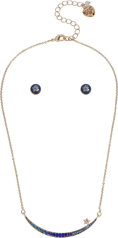 Betsey Johnson Stone Crescent Necklace & Stud Earrings Set