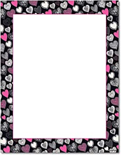 Pink Black Hearts Stationery Paper - 80 Sheets - Great for Valentine's Day!