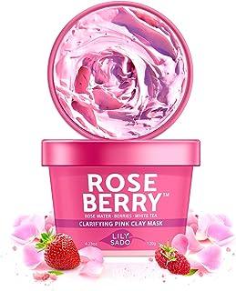 LILY SADO ROSE BERRY Rose Water & Berries Pink Clay Mask with White Tea & Exfoliating Jojoba Beads - Clarifying Facial Mas...