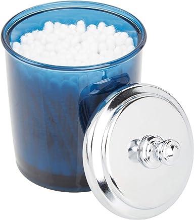 mDesign Bathroom Vanity Storage Organizer Apothecary Canister Jar for Cotton Balls,  Swabs,  Beauty Blenders,  Makeup Sponges,  Bath Salts,  Hair Ties,  Jewelry - Dark Blue/Chrome Lid