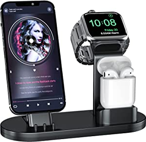 OLEBR 3 in 1 Charging Stand iwatch Stand, Charging Station Compatible with iWatch SE/6/5 /4/3 /2/1, AirPods Pro and iPhone Series 12/11/ X /8/7 /6S /5(Original Cable Required) Black