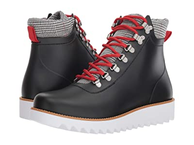 Bernardo Winnie Hiker Rain Boot (Black Rubber/Black/White Plaid) Women
