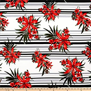 Fabric Liverpool Double Knit Stripe Floral Black/Red Fabric by the Yard