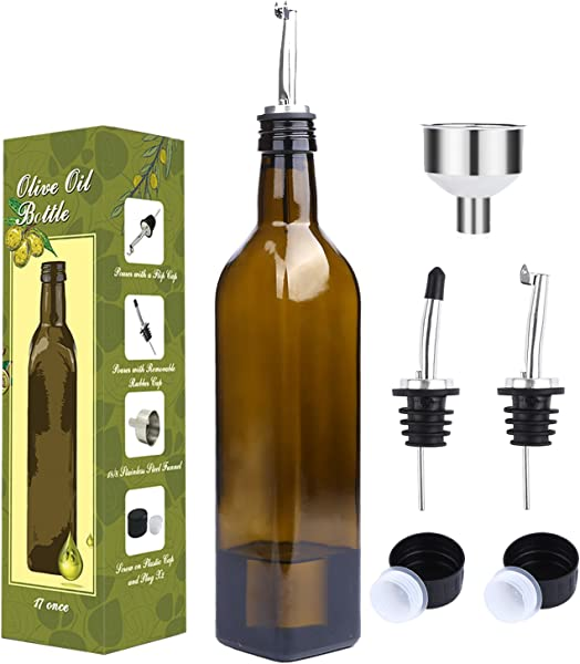 Aozita 17oz Glass Olive Oil Bottle 500ml Dark Brown Oil Vinegar Cruet With Pourers And Funnel Olive Oil Carafe Decanter For Kitchen