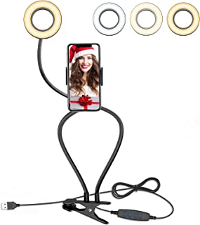 Selfie Ring Light with Cell Phone Holder for Live Stream/Makeup, BlitzWolf Dimmable LED Camera Lighting with Flexible Goos...