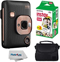 Fujifilm Instax Mini LiPlay Hybrid Instant Camera (Elegant Black) + Fujifilm Instax Instant Film (20 Shots) + Compact Camera Case – Instant Camera Bundle
