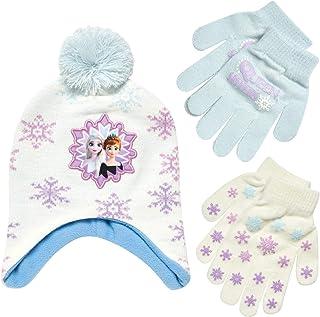کلاه زمستانی منجمد دختران دیزنی و 2 دستکش یا دستکش جفتی (سن 2 تا 7 سال)