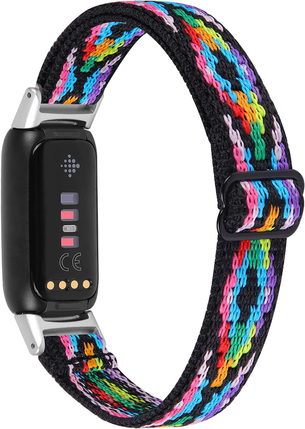 OCEBEEC Stretchy Sport Bands Compatible with Fitbit Luxe, Adjustable Elastic Nylon Wristband Replacement for Fitbit Luxe Fitness and Wellness Tracker for Women Men(Aztec Style Colorful)