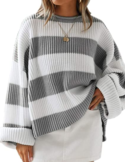 grey gray striped sweater