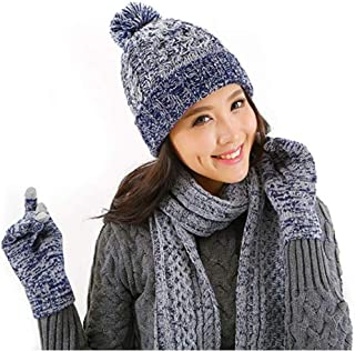 Jiuhexu 3 in 1 Women Knitted Beanie Gloves & Scarf Winter Set Warm Thick Fashion Hat Mittens