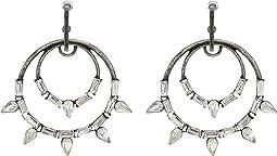 Double Circle Rhinestone Spike Design Post Earrings