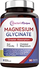 Doctor's Recipes Magnesium Glycinate for Men & Women, 90 Caps, Amino Acid Chelated, High Absorption, Easy on Stomach, Calm...