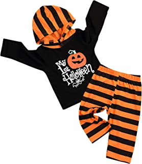 SEVEN YOUNG Newborn Baby Boy Girl Hoodie Outfit My First Halloween Pumpkin Print Shirt+Stripe Pant Clothes Outfits Set