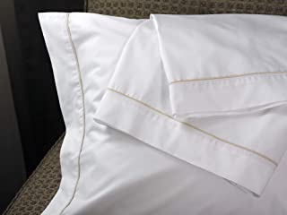 Westin Luxe Pillowcases - Soft, Luxurious 300 Thread Count Cotton Pillowcases - White with Taupe Trim - Set of 2 - Queen (20