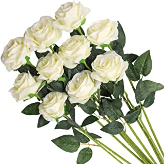Veryhome Artificial Flowers Silk Roses Fake Bridal Wedding Bouquet for Home Garden Party Floral Decor 10 Pcs (White Curved stem)