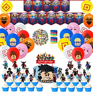 ICShopToday Sandbox Game Theme for Roblox Party Supplies Decorations with Cupcake Toppers,Happy Birthday Banner,Balloons