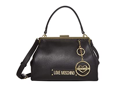 LOVE Moschino Love Logo Clasp Handbag (Black Natural Grain Calf) Handbags