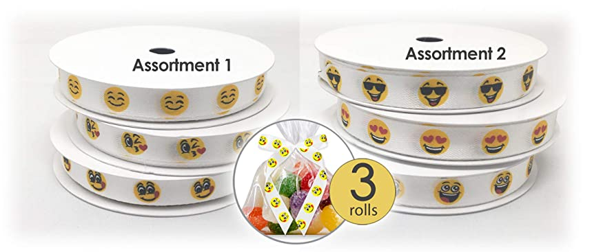 3 Assorted Rolls Emoji Emoticons Soft Polyester Ribbon 1/2 inch Wide - 31.5 Feet Total - Great as Emoji Party Favor Accessory, Emoji Party Supplies or for Emoji Gift Wrap