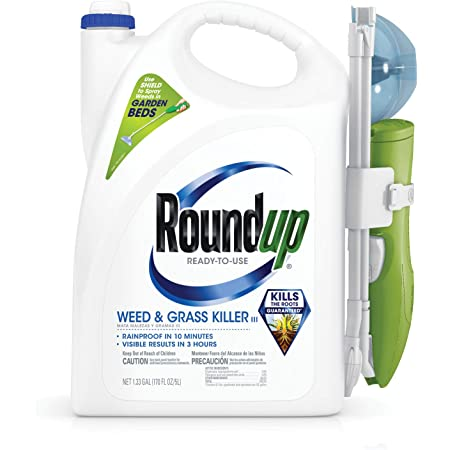 Roundup Ready-to-Use Weed & Grass Killer III - with Sure Shot Wand, Use in & Around Vegetable Gardens, Tree Rings, Flower Beds, Patios & More, Kills to The Root, 1.33 gal.