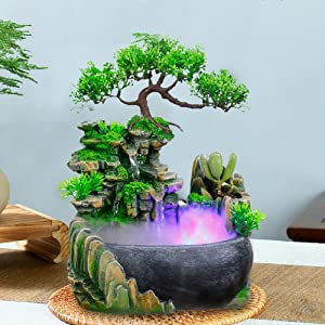 DYRABREST Indoor Relaxation Desktop Fountain Waterfall, Zen Meditation Rockery Crafts Indoor Waterfall with Automatic Pump and LED Light for Home Office Bedroom Desk Décoration