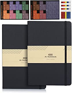 Classic College Ruled Notebooks Journals - Black A5 Hardcover Faux Leather Notebook for Business Men & Women, 5 x 8.25 Inch, 2 Pack