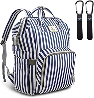 Diaper Bag, Hafmall Waterproof Diaper Backpack, Multi-Function Baby Travel Backpack with Stroller Straps for Mom and Dad (Blue & White Stripes)