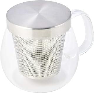 Taza de té de vidrio con infusor y tapa de acero inoxidable - 450 ml - Prepare fácilmente té de hojas sueltas - Apto para ...