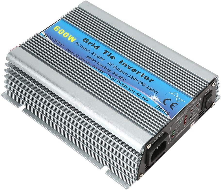 Naroote Inversor Solar AC220-240V, UE Impermeable 600W Rejilla de Onda sinusoidal Pura Convertidor de inversor de energ/ía Solar para el hogar 22-60V