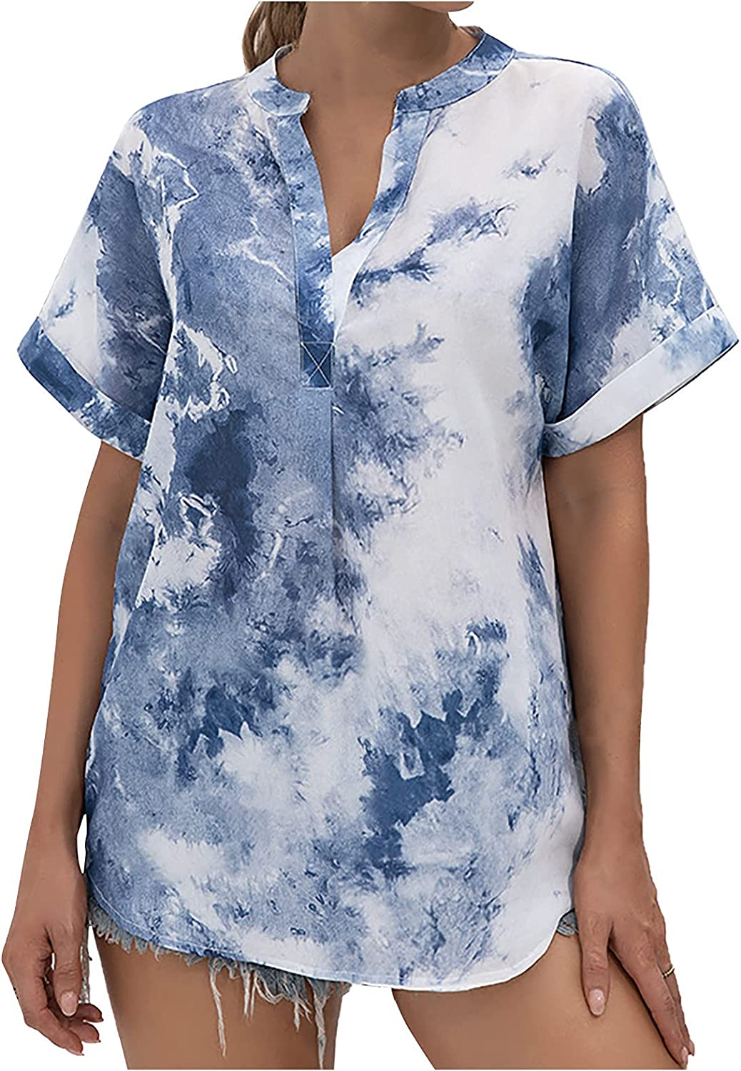 Blouses for Women Fashion Tie-dy Print Casual Tunics V-Neck Button Down Loose Summer Tops Vacation Comfy Shirt