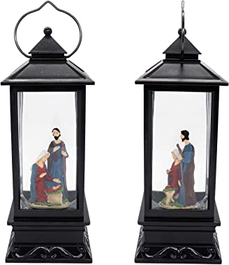 DRomance Lighted Water Lantern Glittering with Music USB & Battery Powered Singing Snow Globe for Kids, Nativity Water Snow G