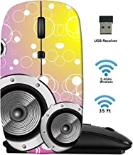 MSD Wireless Mouse 2.4G Travel Mice with USB Receiver, Noiseless and Silent Click with 1000 DPI for Notebook PC Laptop Computer MacBook Black Base Bubbles Fantasy Colorful Music Background Photo 4896