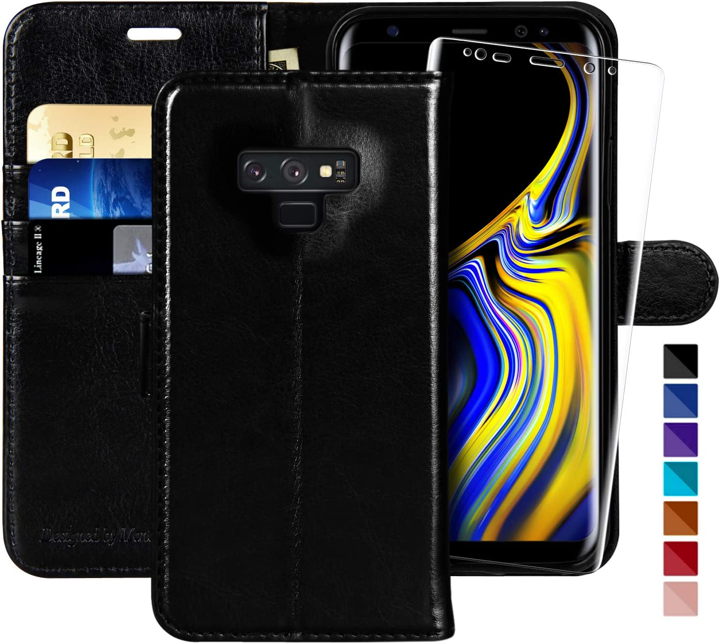 Galaxy Note 8 Wallet Case, 6.3 inch,MONASAY [Included Screen Protector] Flip Folio Leather Cell Phone Cover with Credit Card Holder for Samsung Galaxy Note 8