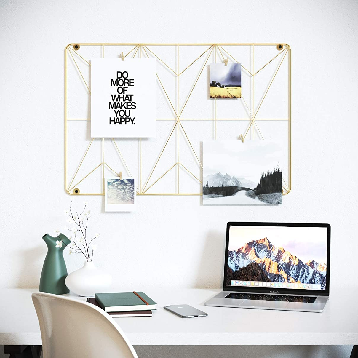 Cevillo Stylish Wire Metal Wall Grid Panel – Perfect as Photo Frame, Office Organization – Gold Multi-Functional Wall Storage Display (Gold | Rectangle) tb68811962939