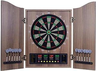 XHLLX Elektonic dartbord med kabinett, 27 spel och 243 variationer dartbräda 12 dart med displaypanelspanel inomhus för 16...