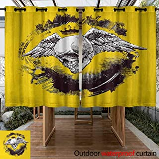 Onefzc Outdoor Curtain Panel for Patio Tattoo The Death Angel Crowned Skull Drawing with Wide Magnificent Feather Wings for Porch&Beach&Patio 72