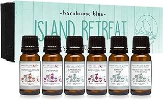 Island Retreat Gift Set of 6 Premium Fragrance Oils - Barrier Reef, Mountain Meets The Ocean, Beautiful Day, Caribbean Escape, Honolulu Sun, Mermaid - Barnhouse Blue