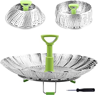 Steamer Basket Stainless Steel Vegetable Steamer Basket Folding Steamer Insert for Veggie Fish Seafood Cooking, Expandable...